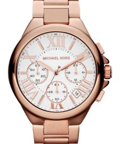 Michael Kors Camille Chronograph White Dial Rose Gold-tone Ladies MK5757