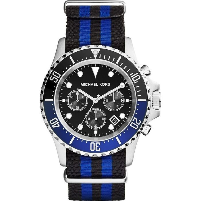 989a1dd403dc Michael Kors Everest Chronograph Black Dial Black and Blue Nylon strap Men s  Watch-MK8398