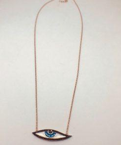 Γυναικείο ασημένιο επιροδιωμένο κολιέ σχέδιο ματάκι με σμάλτο και μαύρες πέτρες zircon