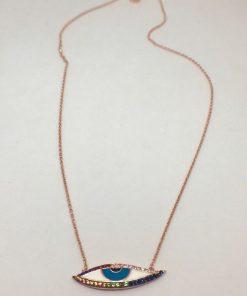Γυναικείο ασημένιο επιροδιωμένο κολιέ σχέδιο ματάκι με σμάλτο και χρωματιστές πέτρες zircon