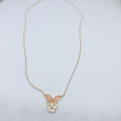 Κολιέ χρυσό 1gr 14 καράτια σχέδιο πεταλούδα-μαργαρίτα με σμάλτο