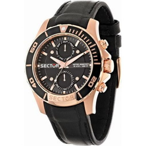 SECTOR Multifunction Black Leather Strap R3251577004