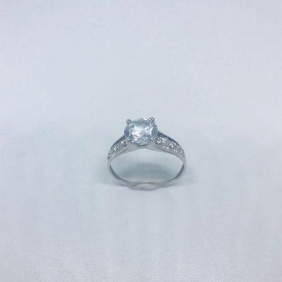 Λευκόχρυσο δαχτυλίδι μονόπετρο