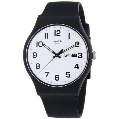 Swatch Twice Again Black Rubber Strap SUOB705