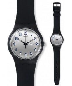 SWATCH Secret Service Black Rubber Strap Unisex Watch -Cod: SUOB718