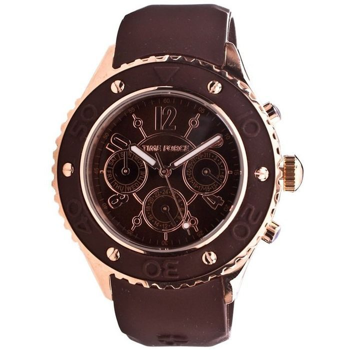 TIME FORCE Brown Rubber Strap Ladies Watch- Cod.: TF3301L14