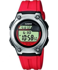 CASIO Collection Silver case with Red Rubber Strap W-211-4AVES