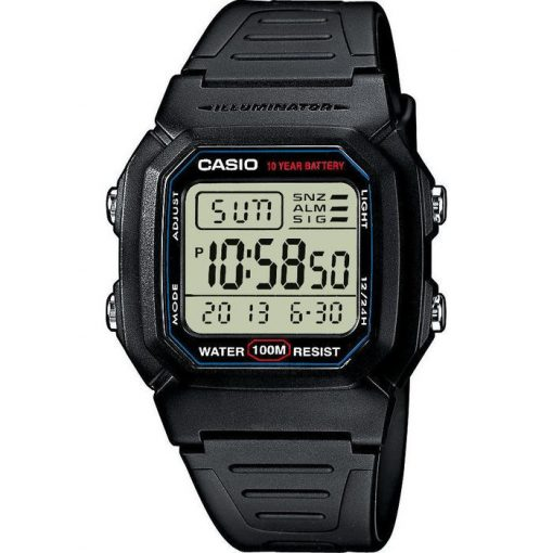 CASIO Collection Digital Black Rubber Strap- W-800H-1AVE
