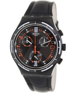 SWATCH Eruption Black Leather Chronograph YCB4023