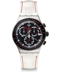 SWATCH Daikanyama White Leather Strap Chronograph YVS407