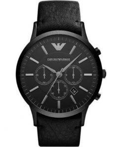 Emporio Armani Gents Black Leather Band Chronograph AR2461