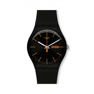 Swatch Dark Rebel Rubber strap SUOB704