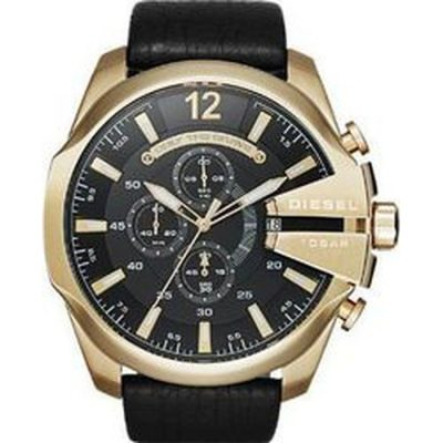 Αντρικό ρολόι DIESEL Mega Chief Gold Black Leather Strap Chronograph DZ4344