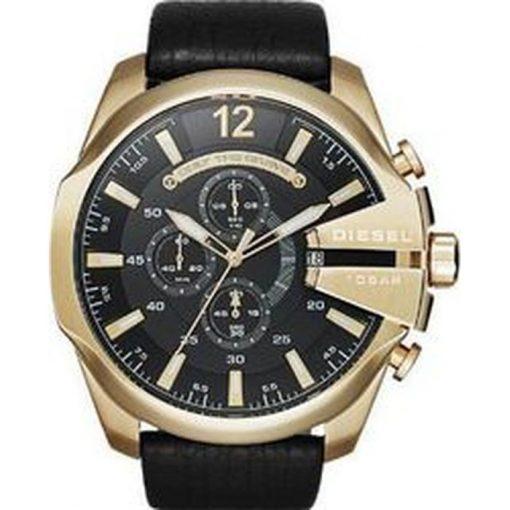 Αντρικό ρολόι DIESEL Mega Chief Gold Black Leather Strap Chronograph DZ4344