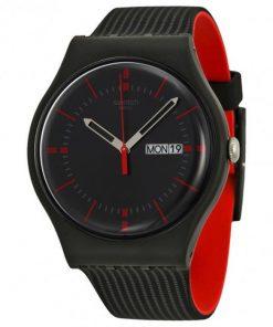 Swatch Gaet Black Rubber Strap SUOB714